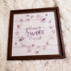 Home sweet home floral framed square wall decor
